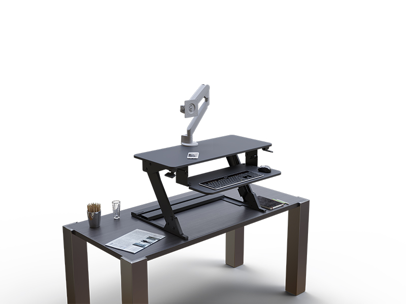 Solace Desktop on desk with conform single articulating arm no monitor
